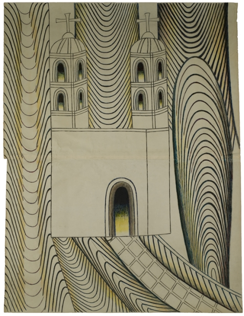 Martín Ramírez. Untitled (Church with Arches and Tunnels), 1950-55. Graphite, tempera and crayon on paper, 48 x 36 1/2 in (121.9 x 92.7 cm).