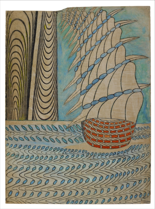 Martín Ramírez. Untitled (Galleon on Water), c1960-63. Gouache, coloured pencil and graphite on pieced paper, 33 x 24 in (84 x 61 cm). Private Collection.