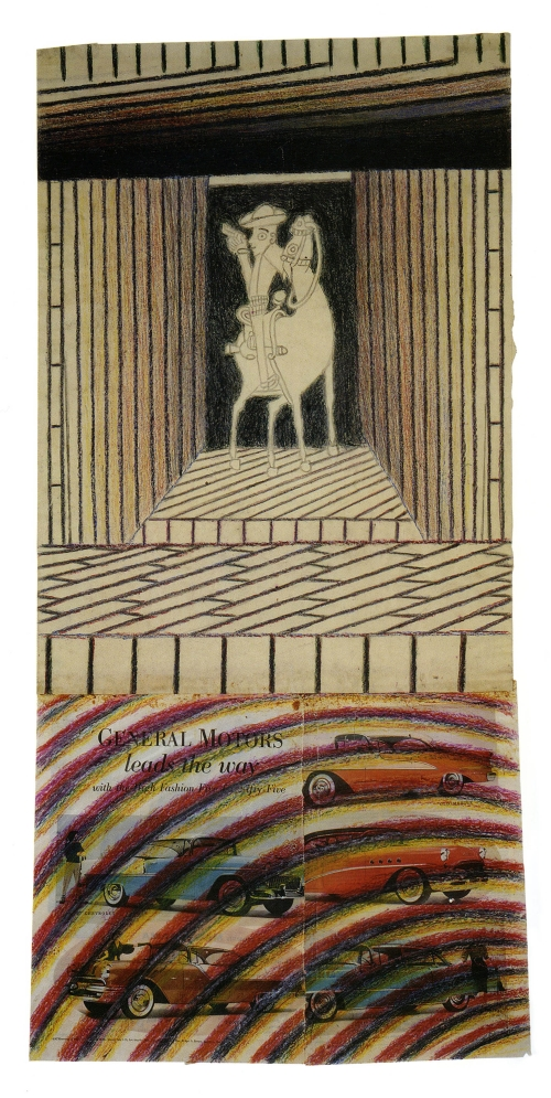 Martín Ramírez. Untitled (Horse and Rider), c1950. Coloured pencil, crayon and collage on paper, 37 x 18 5/8 in (93.98 x 47.31 cm)
