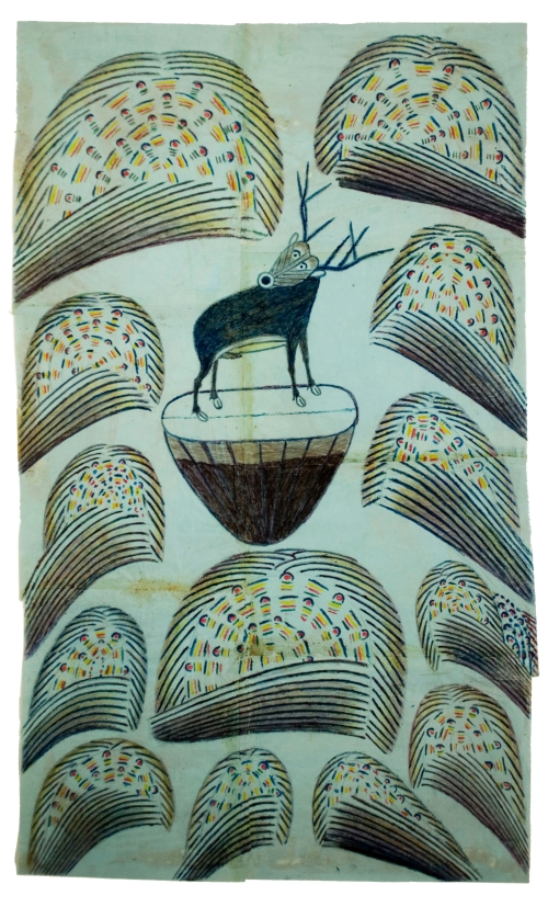 Martín Ramírez. Untitled, (Stag on mound with fireworks), c1952-53. Graphite, tempera and crayon on paper, 32 x 19 1/2 in (81.3 x 49.5 cm).