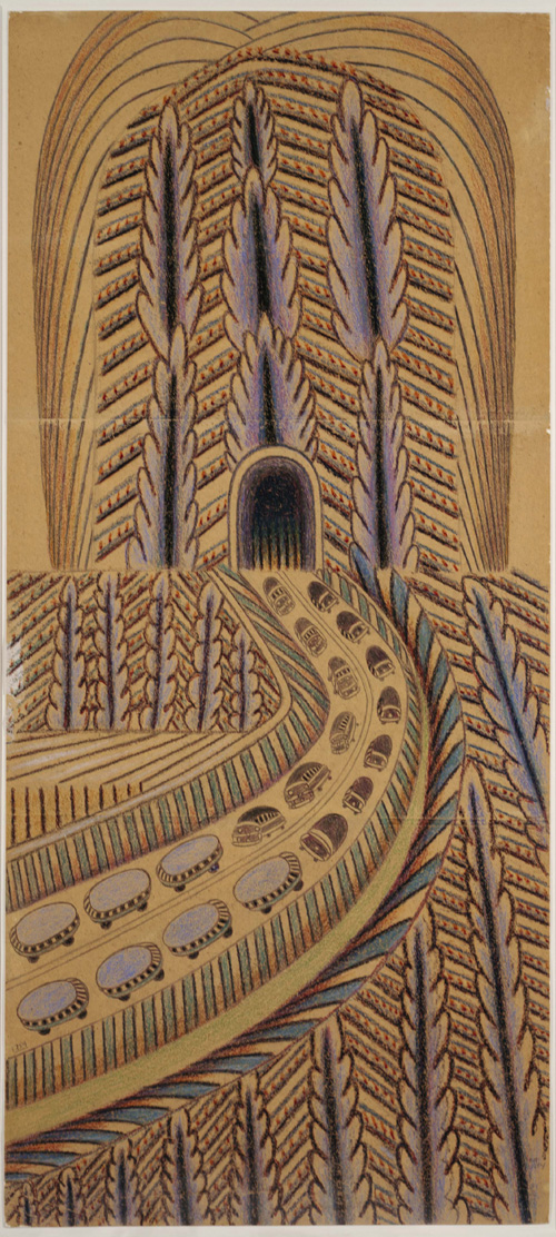 Martín Ramírez. <em>UNTITLED (Tunnel with Cars and Buses)</em> (1895-1963). Auburn, California c. 1948-1963. Pencil and crayon on pieced paper 53 x 23 in Collection of Robert M. Greenberg Photo courtesy Robert M. Greenberg, New York