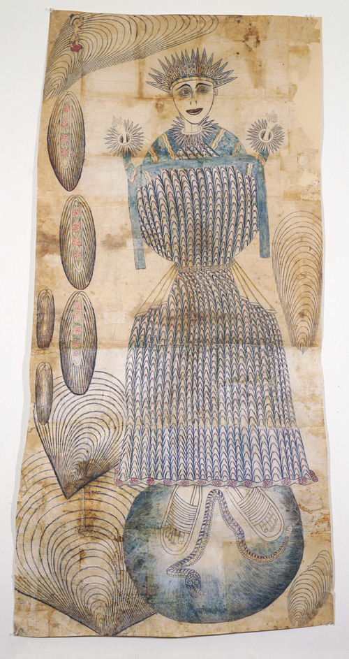 Martín Ramírez. <em>Untitled (Madonna)</em> c. 1948-63 pencil and crayon on pieced paper 79 x 41 in Collection of Ann and James Harithas Photo courtesy Phyllis Kind Gallery, New York