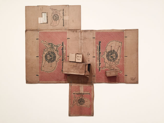 Robert Rauschenberg. National Spinning / Red / Spring (Cardboard), 1971. Cardboard, wood, string and steel, 254 x 250.2 x 21.6 cm. The Menil Collection, Houston. Photograph: Martin Kennedy.