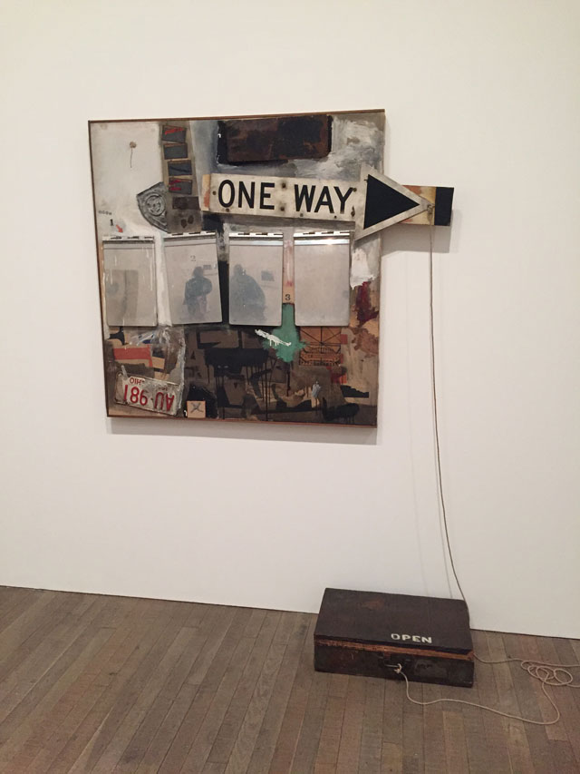 Robert Rauschenberg. Black Market, 1961. Oil paint, water colour, graphite, paper, fabric, newspaper, printed paper, printed reproductions, wood, metal, tin and four metal clipboards on canvas; with rope, rubber stamp. Ink pad, and variable objects randomly given and taken by viewers, in wood valise, 124.5 x 149.9 cm. Museum Ludwig Cologne/Donation Ludwig. Photograph: Martin Kennedy.