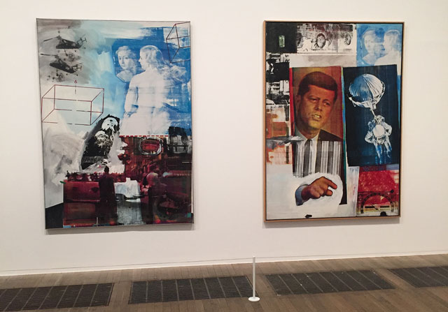 Robert Rauschenberg. Left: Tracer, 1963. Oil paint and silkscreen ink on canvas