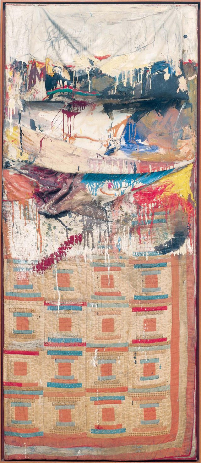 Robert Rauschenberg. Bed, 1955. Combine painting: oil, pencil, toothpaste, and red fingernail polish on pillow, quilt (previously owned by the artist Dorothea Rockburne), and bedsheet mounted on wood supports, 191.1 x 80 x 20.3 cm. The Museum of Modern Art, New York. © Robert Rauschenberg Foundation, New York. Image: The Museum of Modern Art, New York/Scala, Florence.
