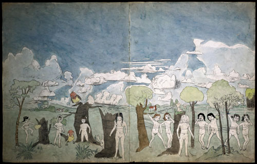 Henry Darger. At Calmanrina, c1930-1972. Collection de l'Art Brut, Lausanne. © Halle Saint Pierre.