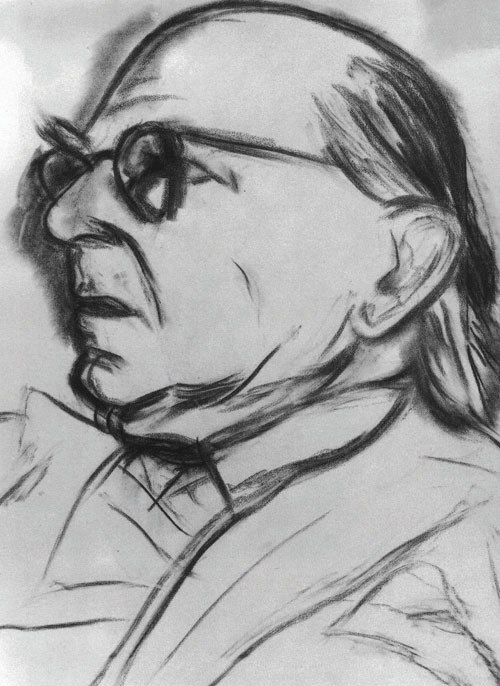 RB Kitaj. <em>Isaiah Berlin</em>, 1991-92.          Charcoal on canvas,          50.5 x 45.5 cm.        R.B. Kitaj Estate.