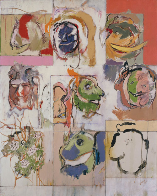 RB Kitaj. <em>Erasmus Variations</em>, 1958.          Oil on canvas,          104.9 x 84.2 cm.        Tate.