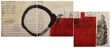 "María Noël. Triptych (puzzle), from the series ""What do we talk about when we talk about art?"", 2013. Mixed media, etchings and lithographs, 60 x 60 cm each."