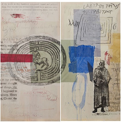"María Noël. Labyrinth (Diptych) from the series ""What do we talk about when we talk about art?"", 2013. Mixed media, etchings and lithographs, 150 x 225 cm."