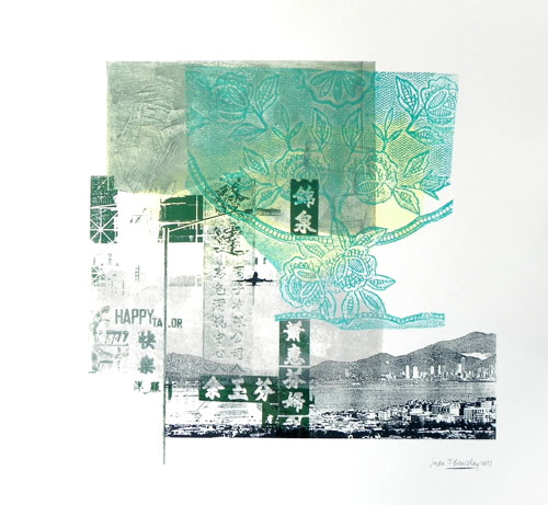 Sara J Beazley. Landing I, 2013. Collograph, relief print, watercolour and silkscreen on paper, 56 x 56 cm .