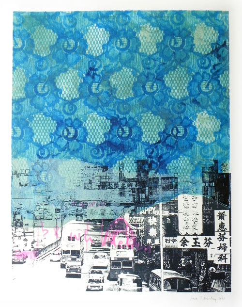 Sara J Beazley. Mongkok I, 2013. Collograph and silkscreen on paper, 76 x 56 cm.