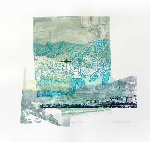 Sara J Beazley. Repulse Bay I, 2013. Collograph, relief print, watercolour and silkscreen on paper, 56 x 56 cm.