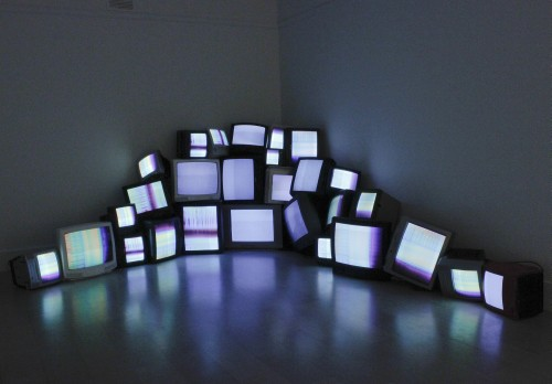 Andrew Demirjian. Morning Light, 2014. Video, TV sets, sync boxes. Dimensions variable.