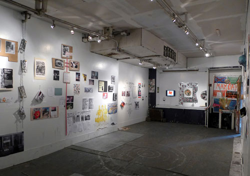 Installation view. RESx (The Real Estate Show Extended), ABC No Rio, New York City.