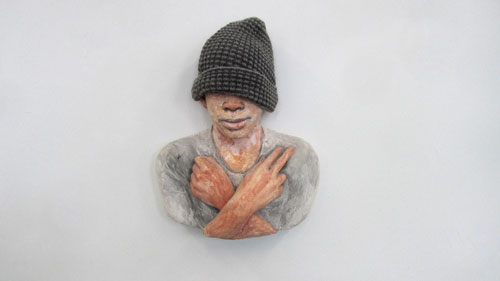John Ahearn. Shelter Kid, 1999. Acrylic and wool on plaster. Courtesy The Lodge Gallery, New York City.
