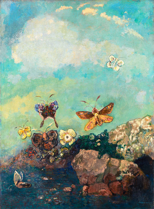 Odilon Redon. Butterflies, c1910. Oil on canvas, 73.9 x 54.9 cm. The Museum of Modern Art, New York, Gift of Mrs Werner E Josten in memory of her husband, 1964. Photograph: © 2013. Digital image, The Museum of Modern Art, New York/Scala, Florence.