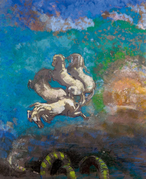 Odilon Redon. Chariot of Apollo, c1910. Oil and pastel on canvas, 91.5 x 77 cm. Musée d'Orsay, Paris. Photograph: © RMN-Grand Palais (Musée d'Orsay)/Hervé Lewandowski.