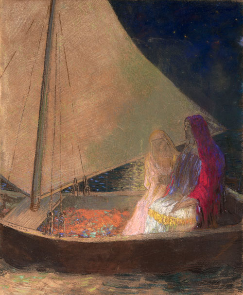 Odilon Redon. The Boat, c1902. Pastel and charcoal on paper, 61 x 50.8 cm. The Museum of Modern Art, New York, Gift of the Ian Woodner Family Collection, 2000. Photograph: © 2013. Digital image, The Museum of Modern Art, New York/Scala, Florence.