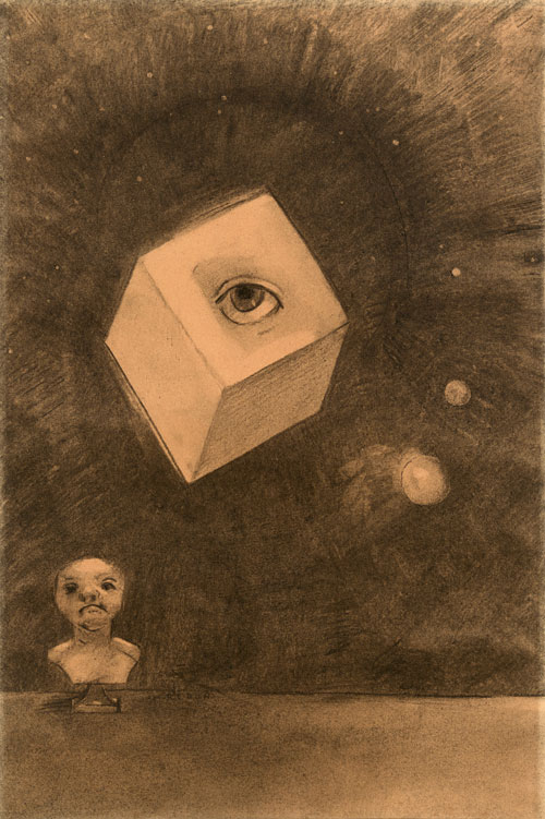 Odilon Redon. The Cube, 1880. Charcoal on paper, 43 x 29 cm. Private collection.