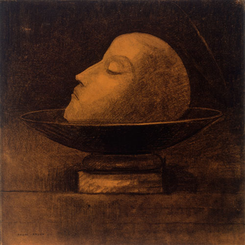 Odilon Redon. Martyr, or Head of a Martyr on a Dish, or Saint John, 1877. Charcoal on paper, 36.6 x 36.3 cm. Kröller-Müller Museum, Otterlo. Photograph: Collection Kröller-Müller Museum, Otterlo.