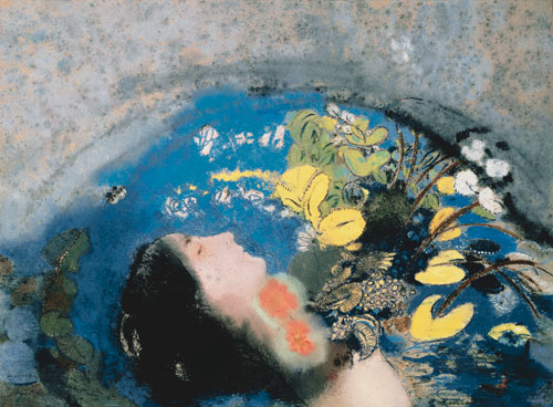 Odilon Redon. Ophelia, 1900–05. Pastel on paper mounted on cardboard, 50.5 x 67.3 cm. Dian Woodner Collection, New York. Photograph: Lynton Gardiner.
