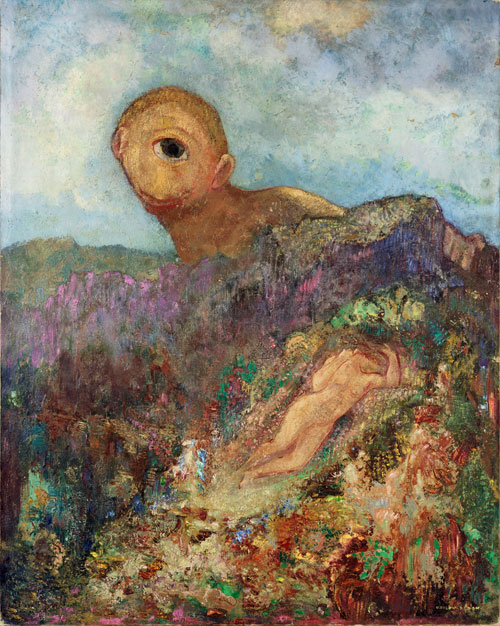 Odilon Redon. The Cyclops, 1914. Oil on cardboard mounted on panel, 65.8 x 52.7 cm. Kröller-Müller Museum, Otterlo. Photograph: Collection Kröller-Müller Museum, Otterlo.