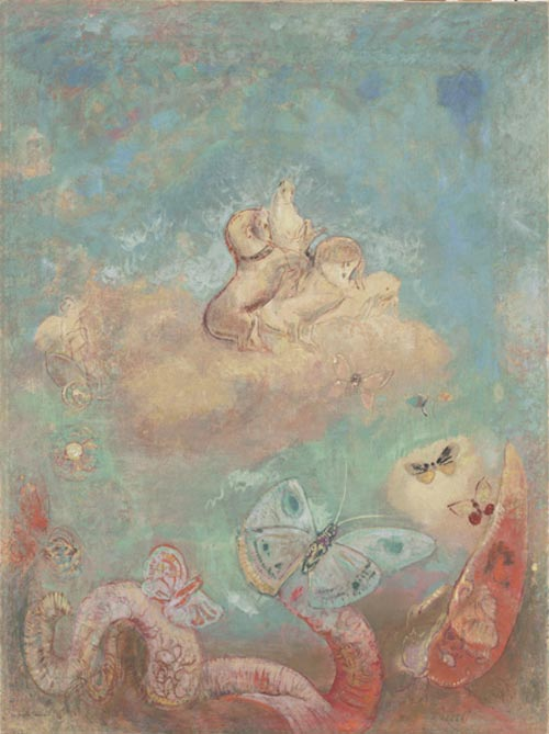 Odilon Redon. <em>The Chariot of Apollo</em> c. 1912. Oil on canvas 39 &frac14; x 29 &frac12; in. The Musuem of Modern Art, New York, Gift of the Ian Woodner Family Collection, 2000.