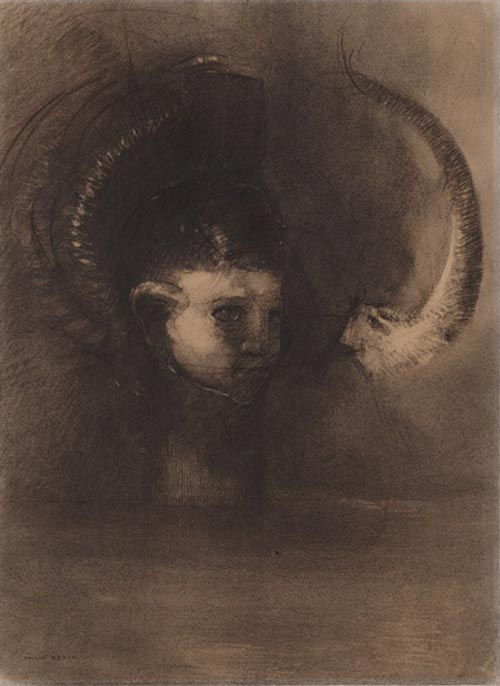 Odilon Redon. <em>Dream Polyp</em> 1891. Various charcoals and black chalk, with stumping, erasing and incising, on cream wove paper, altered to a golden tone 19 x 14 in. The Musuem of Modern Art, New York, Gift of Mr and Mrs Donald B Strauss, 1973.