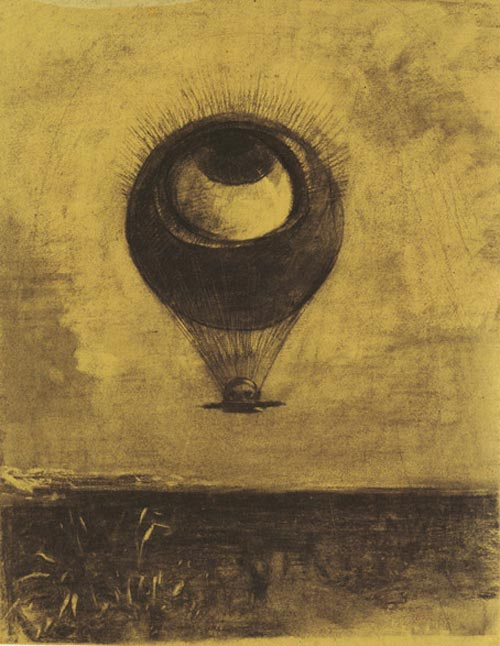 Odilon Redon. <em>Eye-balloon</em> 1878. Various charcoals and black chalk, with stumping, erasing and incising, heightened with traces of white chalk, on yellow-cream wove paper altered to a pale golden tone 16 5/8 x 13 1/8 in. The Musuem of Modern Art, New York, Gift of Larry Aldrich, 1964.