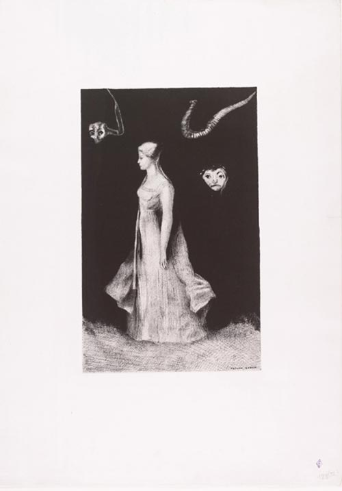 Odilon Redon. <em>The Haunting</em> 1893, published 1894. Lithograph on chine appliqu&eacute;. Composition 14 5/16 x 15/16 in. Sheet: 24 13/16 x 17 11/16 in. Publisher: probably the artist, Paris printer: Leon Moncrocq, Paris Edition: proof outside the edition of 50. The Musuem of Modern Art, New York, Gift of the Ian Woodner Family Collection, 2000.