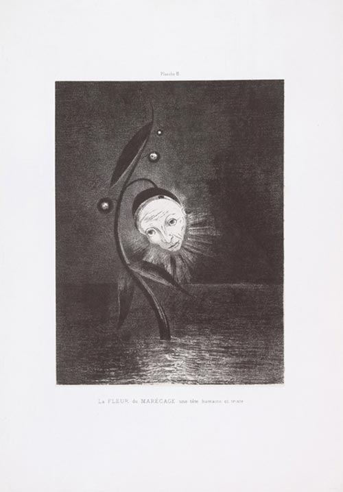 Odilon Redon. <em>The Marsh Flower</em>, a Sad Human Head plate II from the portfolio Homage to Goya, 1885. Lithograph on chine appliqu&eacute;. Composition 10 3/4 x 8 1/16 in. Sheet 17 11/16 x 12 3/8 in. Publisher: probably the artist, Paris (distributed by L Dumont, Paris). Printer: Lemercier, Paris Edition: 50; plus a second edition of 25. The Musuem of Modern Art, New York, Gift of the Ian Woodner Family Collection, 2000.