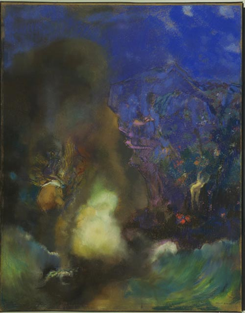 Odilon Redon. <em>Roger and Angelica</em> c. 1910. Pastel, with wiping, stumping and incising, on paper, mounted on canvas 36 1/2 x 28 3/4 in. The Musuem of Modern Art, New York, Lillie P Bliss Collection, 1934.