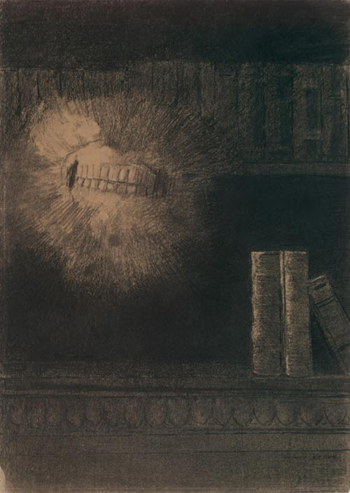 Odilon Redon. <em>The Teeth</em> 1883, Various charcoals and black chalk, with stumping, erasing and incising, on cream wove paper, altered to a golden tone 20 1/8 x 14 1/2 in. The Musuem of Modern Art, New York, Gift of the Ian Woodner Family Collection, 2000.
