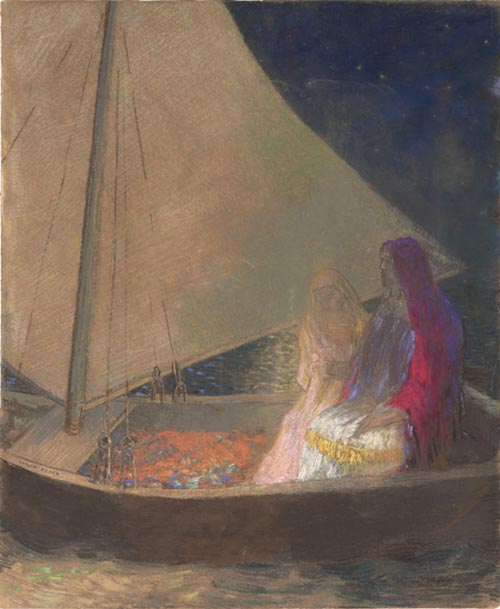 Odilon Redon. <em>The Barque</em> c. 1902. Pastel with charcoal on tan wove paper 24 x 20 in. The Musuem of Modern Art, New York, Gift of the Ian Woodner Family Collection, 2000.