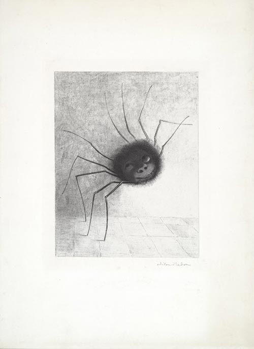 Odilon Redon. <em>The Spider</em> 1887. Lithograph on chine appliqu&eacute;. Composition: 11 x 8 9/16 in. Sheet: 20 7/8 x 15 1/4 in. Publisher: probably the artist, Paris (distributed by L Dumont, Paris). Printer: Lemercier, Paris Edition: proof outside the edition of 25. The Musuem of Modern Art, New York, Mrs Bertram Smith Fund, 1956.