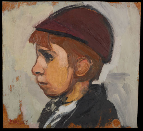 Joan Eardley. Boy's Head. Oil on board. Government Art Collection. © Estate of the Artist. Image: Crown Copyright, UK Government Art Collection. © Estate of Joan Eardley. All Rights Reserved, DACS 2014.