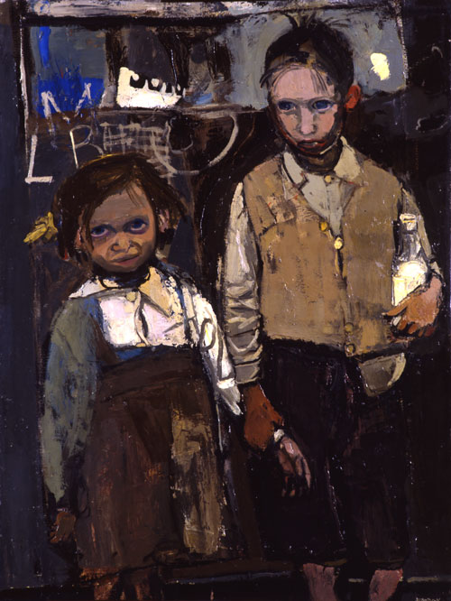 Joan Eardley. Brother and Sister, 1955. Oil on canvas. © Aberdeen Art Gallery & Museums Collections. © Estate of Joan Eardley. All Rights Reserved, DACS 2014.
