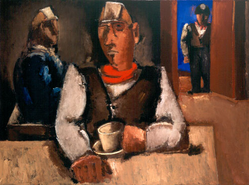 Josef Herman. In the Canteen, 1954. Oil on canvas. © Aberdeen Art Gallery & Museums Collections. © Estate of Josef Herman. All rights reserved.