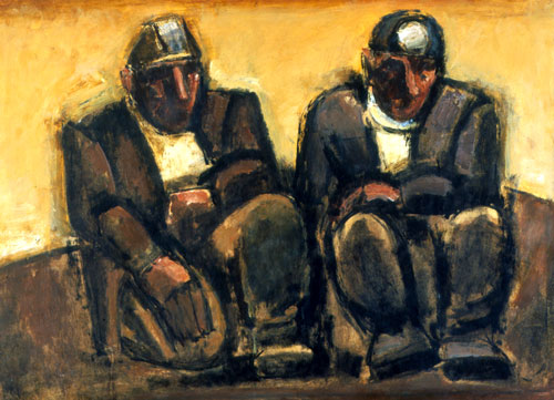 Josef Herman. Miners. Oil on board. Southampton City Art Gallery. © Estate of Josef Herman. All rights reserved.