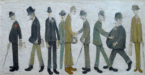 LS Lowry. City Gentlemen, 1963. Oil on board.  Mason Owen Collection. © editionsltd. © Martin Bloom