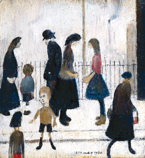 LS Lowry. Figures in a Street, 1960. Oil on board. Royal Academy of Arts, London. Photograph: ©Royal Academy of Arts, London. © The Estate of LS Lowry. All rights reserved, DACS 2014.