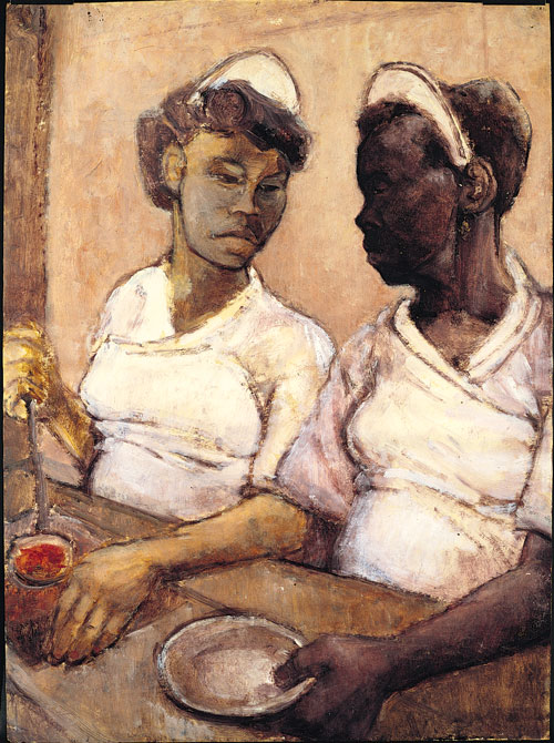 Eva Frankfurther. West Indian Waitresses, c1955. Oil on paper. Private collection. © The Estate of Eva Frankfurther. Photograph © Miki Slingsby.
