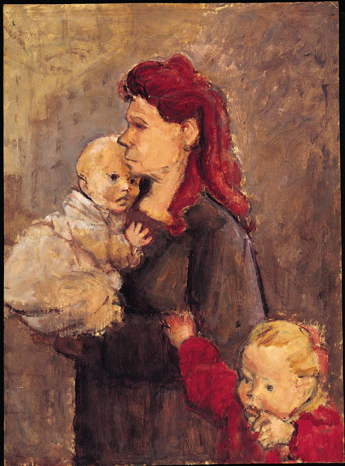 Eva Frankfurther. Woman with Two Children. Oil on paper. Private collection. © The Estate of Eva Frankfurther. Photograph © Miki Slingsby.