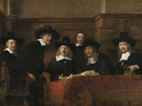 Rembrandt. The Sampling Officials of the Amsterdam Drapers' Guild, known as 'The Syndics', about 1662. Oil on canvas, 191.5 x 279 cm. Rijksmuseum, on loan from the City of Amsterdam. © Rijksmuseum, Amsterdam.
