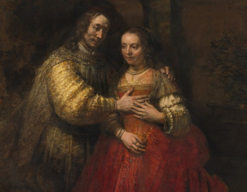 Rembrandt. Portrait of a couple as Isaac and Rebecca, known as 'The Jewish Bride', c1665. Oil on canvas, 121.5 x 166.5 cm. Rijksmuseum, on loan from the City of Amsterdam (A. van der Hoop Bequest). © Rijksmuseum, Amsterdam.