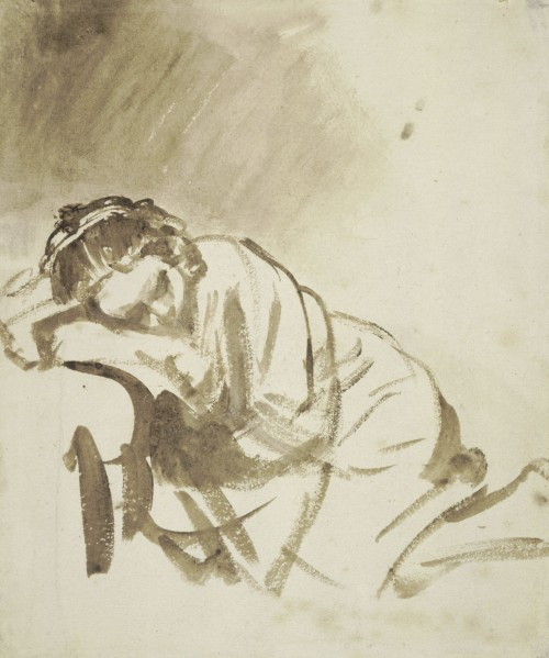 Rembrandt. A young woman sleeping (Hendrickje Stoffels), about 1654. Brush and brown wash, with white bodycolour; ruled framing lines in pen and brown ink, 24.6 x 20.3 cm. The British Museum, London. © The Trustees of The British Museum.