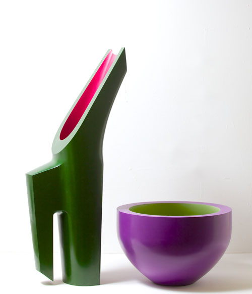 Nicholas Rena. The Harmony of the Year, 2013. Ceramic, painted and polished, bowl 27 cm high, green and pink 85 cm. Photograph: Philip Sayer. Copyright of photograph: Lynne Strover Gallery/Nicholas Rena.