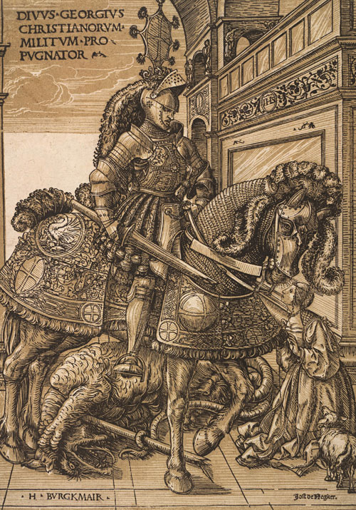 Hans Burgkmair the Elder. St George and the Dragon, c1508-10. Chiaroscuro woodcut printed from two blocks, the tone block in beige, 32 x 22.5 cm. Collection Georg Baselitz. Photograph: Albertina, Vienna.